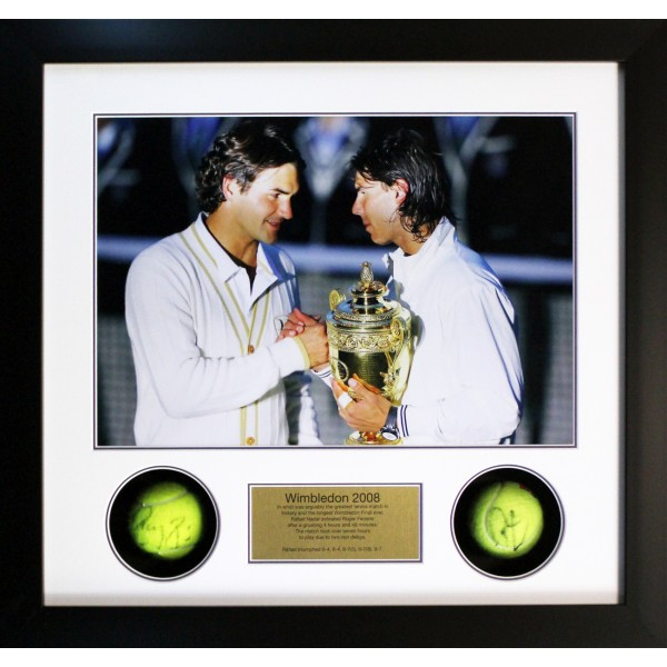 Roger Federer, Rafael Nadal signed genuine authentic tennis ball display