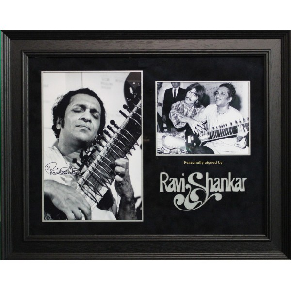 Ravi Shankar signed genuine authentic photo display