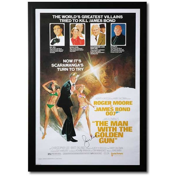 Roger Moore James Bond 007 signed genuine authentic poster