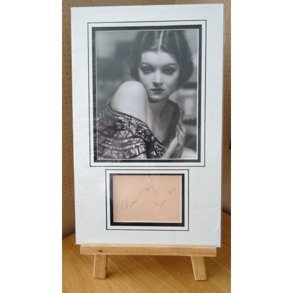 Myrna Loy signed authentic genuine signature autograph display