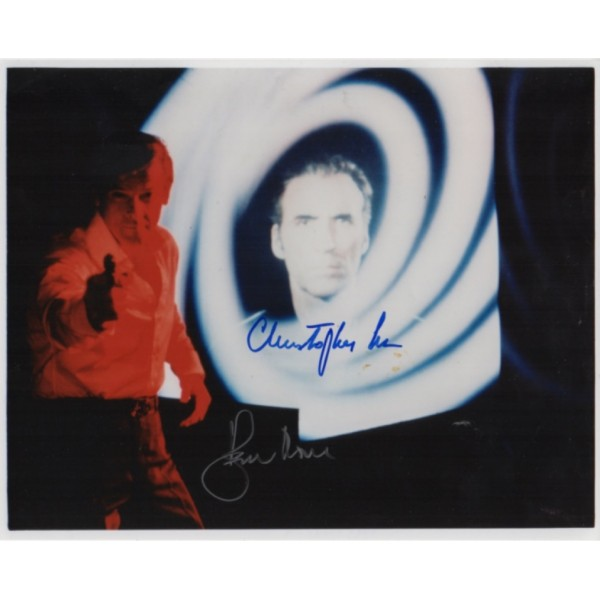 James Bond Roger Moore Christopher Lee genuine signed authentic signature photo