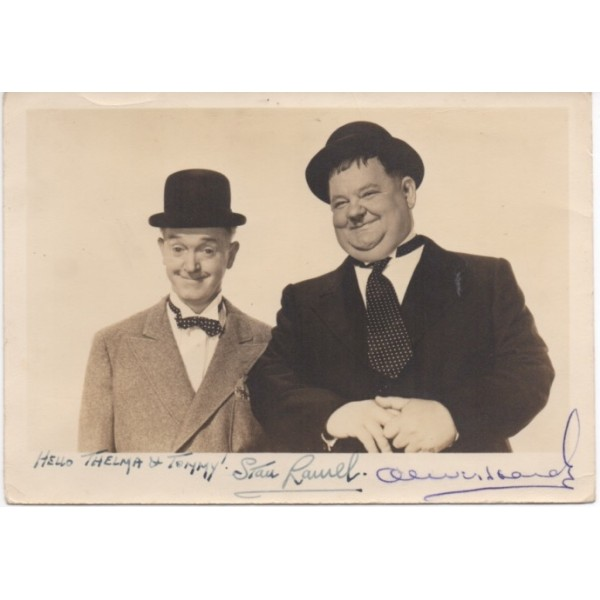 SOLD Stan Laurel and Oliver Hardy authentic signed genuine autograph vintage photo