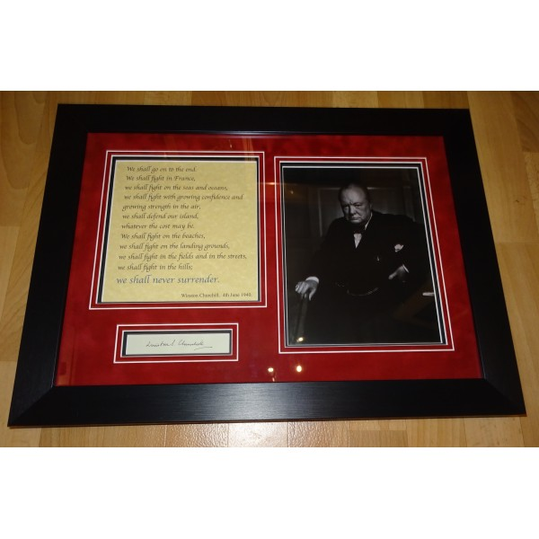 Winston Churchill authentic signed genuine autograph photo display