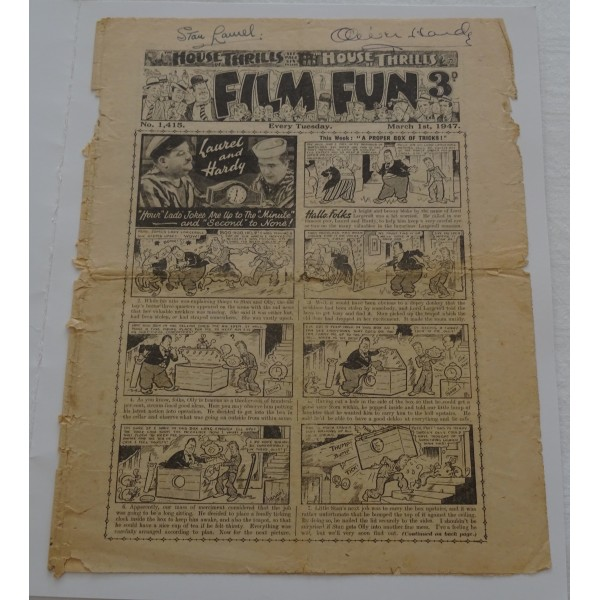 Stan Laurel and Oliver Hardy genuine authentic signed Film Fun comic page