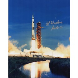 Apollo 15 lift off signed photo Al Worden authentic genuine signature.