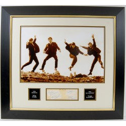 The Beatles John Lennon Ringo McCartney Harrison authentic signed genuine signature photo display