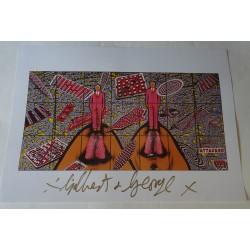 Gilbert and George authentic genuine signature signed print 'Attacked'