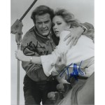 Roger Moore Tanya Roberts James Bond genuine authentic autograph signed photo.