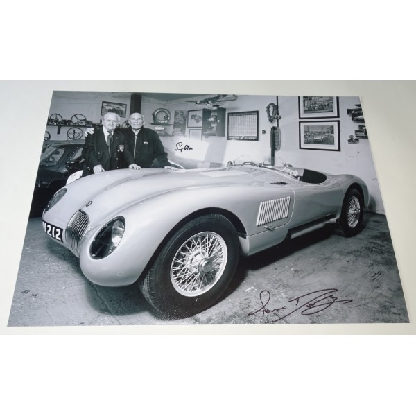 Stirling Moss Norman Dewis Jaguar large signed authentic genuine signature photo UACC AFTAL