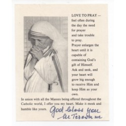 Mother Teresa genuine authentic autograph signed prayer note.