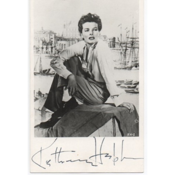 Katherine Hepburn signed authentic genuine signature photo UACC AFTAL