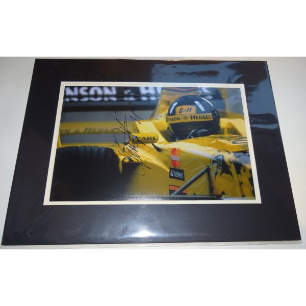 Damon Hill Jordan F1 signed genuine signature authentic photo display