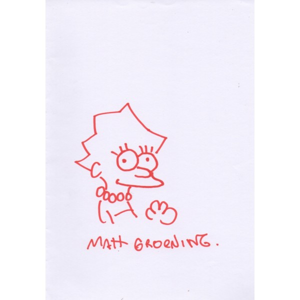 Matt Groening The Simpsons authentic genuine signed sketch