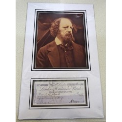 Alfred Lord Tennyson genuine authentic signed autograph cheque display