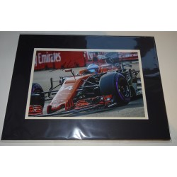 Fernando Alonso F1 Ferrari signed genuine signature authentic photo display