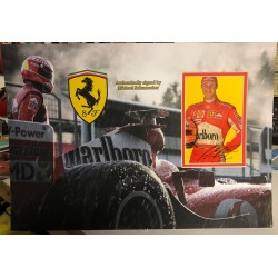 Michael Schumacher F1 Ferrari signed genuine signature photo display