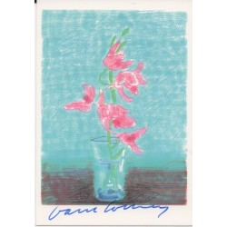 David Hockney genuine signature autograph colour postcard AFTAL RACC