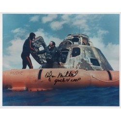 Edgar Mitchell Apollo 14 recovery genuine authentic autograph signed photo.