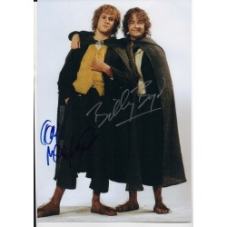 Lord Rings Billy Boyd Dominic Monaghan signed authentic autograph photo