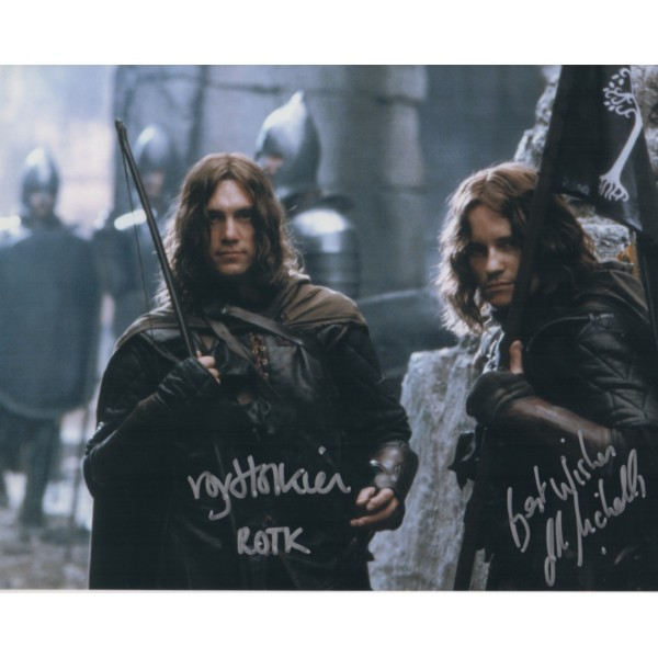 Lord of the Rings Royd Tolkien and Justin Nicholls signed authentic autograph photo