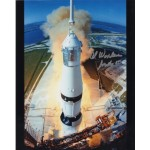 Al Worden Apollo 15 leaves the pad signed Genuine signature