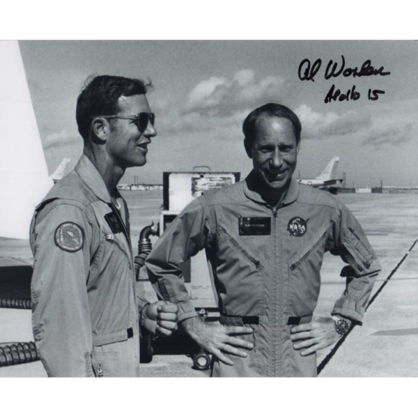 Al Worden Apollo 15 with Dave Scott authentic signed photo.