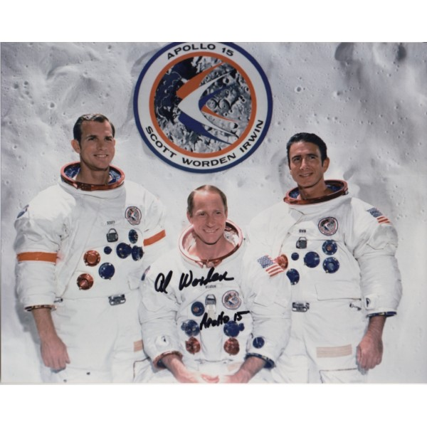 Apollo 15 WSS crew photo signed by Worden authentic genuine signature.