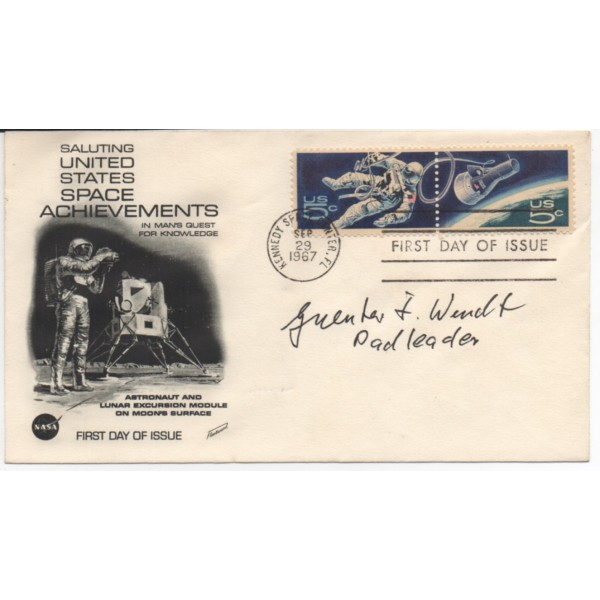 Guenter Wendt Space Apollo authentic signed autograph FDC AFTAL