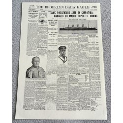 RMS Titanic Millvina Dean Repro newspaper page authentic genuine signed
