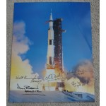 Alan Bean Charlie Duke Cunningham Apollo space authentic autograph signed photo