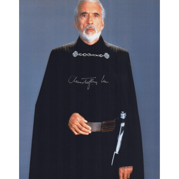 Star Wars Christopher lee authentic genuine signed colour photo