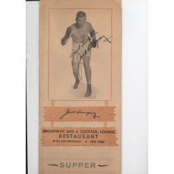 Jack Dempsey boxing authentic genuine signed autograph menu
