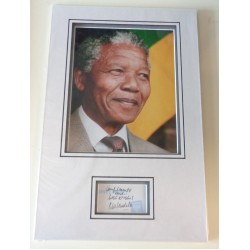 Nelson Mandela authentic genuine signature signed autograph display photo