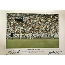 Pele Gordon Banks Brazil football genuine authentic autograph signed photo