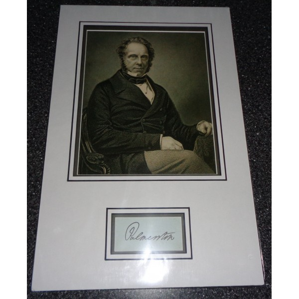 Lord Palmerston Prime Minister genuine authentic signed autograph photo display