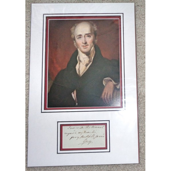 Earl Charles Grey PM politics rare signed authentic genuine signature Note