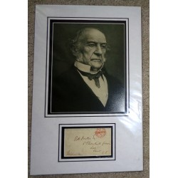 William Ewart Gladstone PM genuine signed autograph signature display.