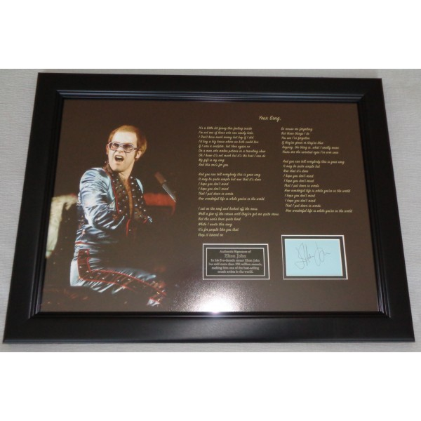Elton John Your Song music authentic signed genuine signature display