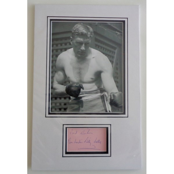 Billy Wells Boxing signed authentic signature autograph photo display COA