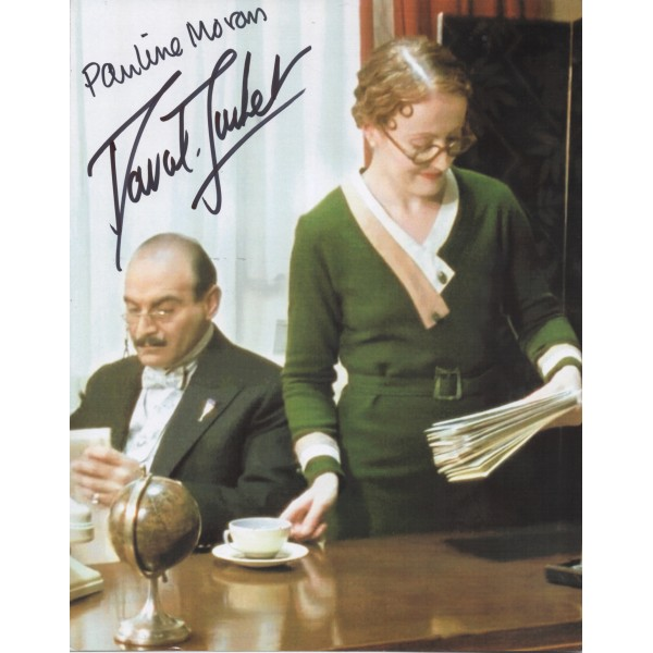 David Suchet Pauline Moran Poirot signed authentic autograph photo