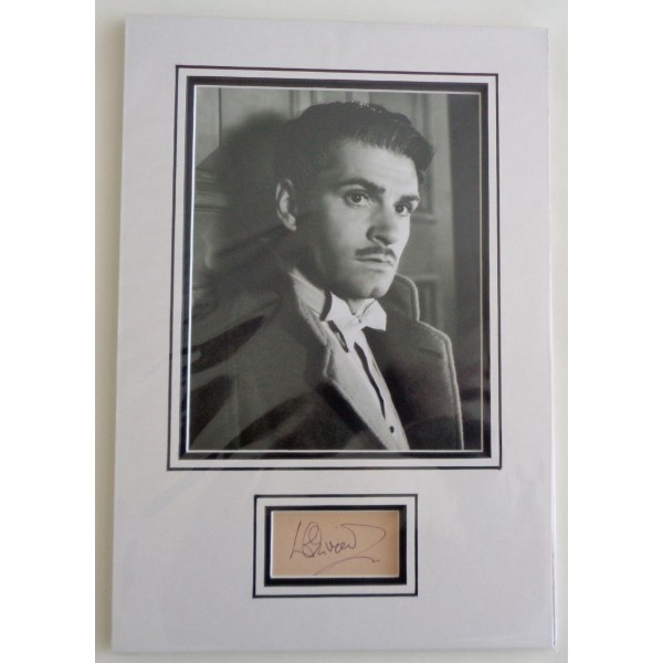 Lawrence Olivier genuine authentic signed autograph display.