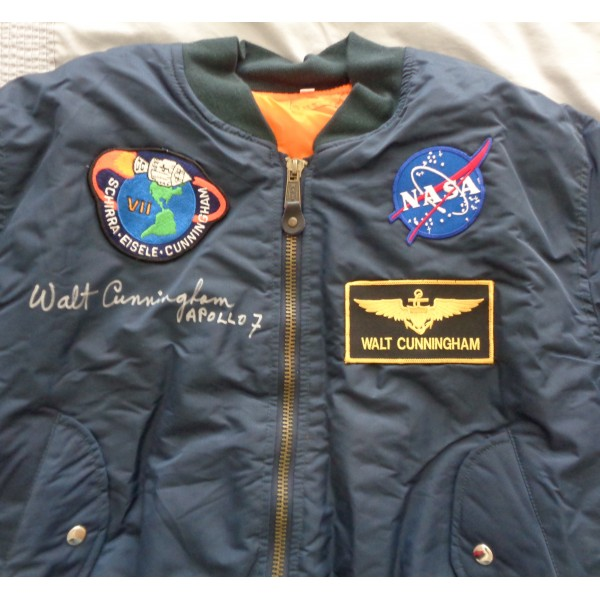 Walt Cunningham Apollo 7 authentic signed Genuine signature flight jacket