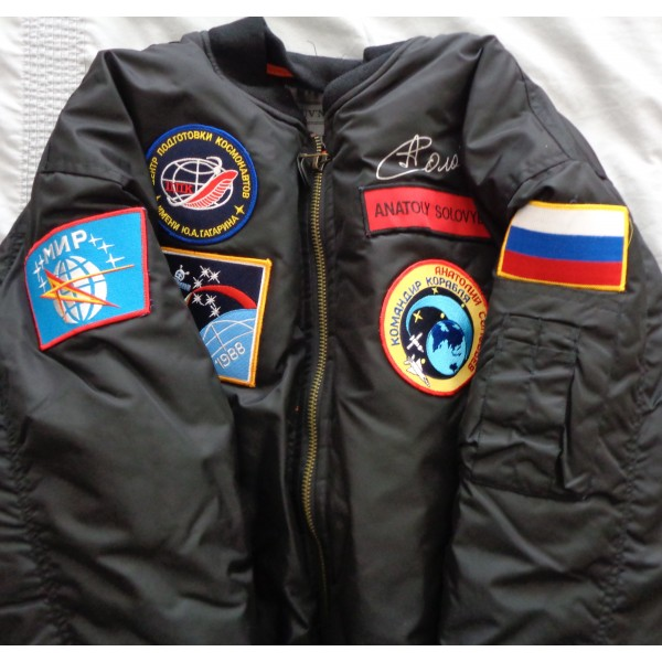 Anatoly Solovyev Soyuz etc authentic signed Genuine signature flight jacket