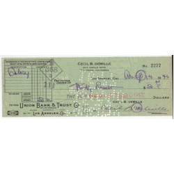 Cecil B DeMille director signed authentic genuine autograph cheque COA