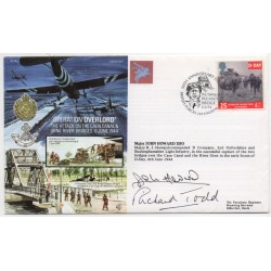 John Howard Richard Todd Pegasus Bridge authentic genuine signed cover FDC