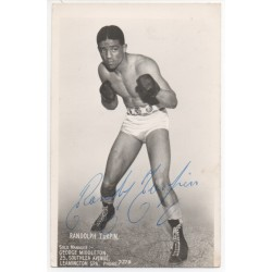 Randolph Turpin Boxing signed authentic genuine signature photo COA UACC AFTAL
