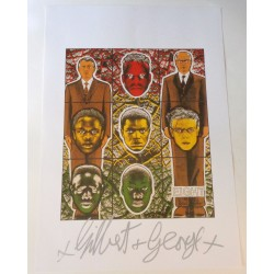Gilbert and George authentic genuine signature signed print 'Eight'