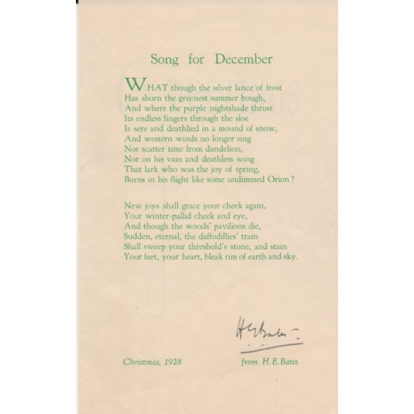 H E Bates Song For December signed authentic genuine signature UACC AFTAL