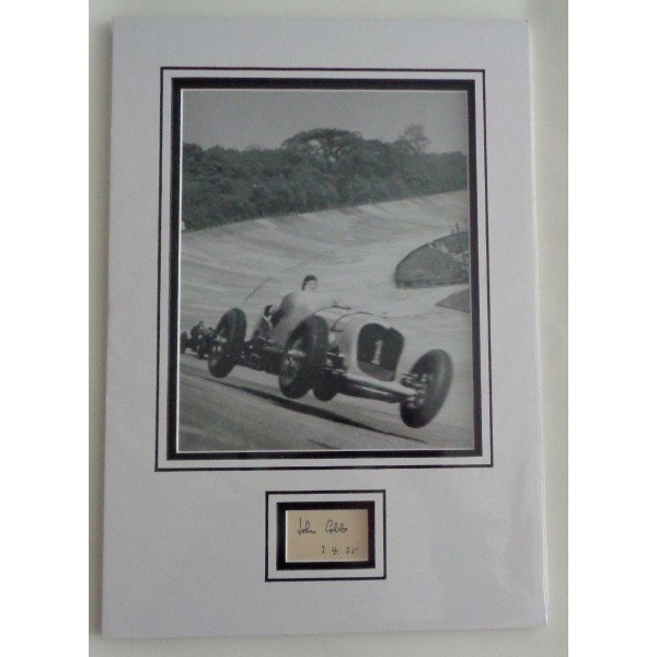 John Cobb Speed records authentic signed autograph page display COA UACC