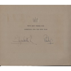 Queen Elizabeth Prince Phillip Royalty signed authentic genuine signature card UACC AFTAL